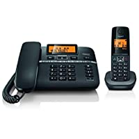 Gigaset C330 Digital Corded-Cordless Phone Combo, 180 Hr Standby, Voicemail, Conference Call, Caller ID, 150 Contact Storage, 50M Indoor-300M Outdoor Range, Germany Technology for Home & Office, Black