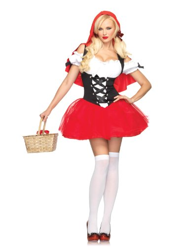 Leg Avenue 83615 - Rotkäppchen Kleid Mit Angenähtem Kapuzenumhang Kostüm Damen Karneval, XL (EUR 44-46)