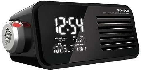 Thomson CP300T Radiowecker mit Projektion, Retro LCD-Bildschirm, digitale Anzeige, Weckfunktion, Kalender, Innenthermometer, MP3-Anschluss möglich, schwarz
