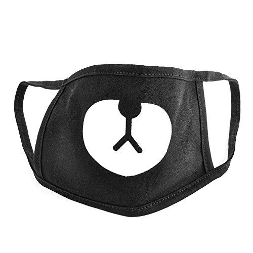 (NimbleMinLki Mundmaske, staubabweisend, Schwarz, süßer Cartoon-Bär-Mund, weiche Baumwolle, für den Außenbereich, für Männer und Frauen)