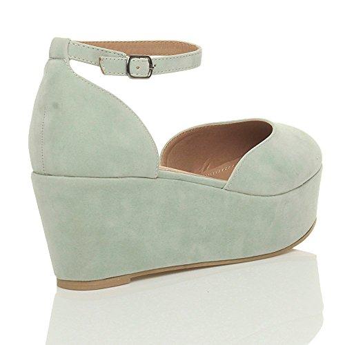 Donna tacco zeppa medio flatform piattaforma décolleté sandali scarpe taglia Scamosciata verde menta