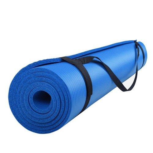 ScSPORTS Gymnastik-/ Yoga-Matte, dick und rutschfest, mit Schultergurt, 185 cm x 80 cm x 1 cm, universeller Einsatz im Fitnessstudio oder zu Hause, blau