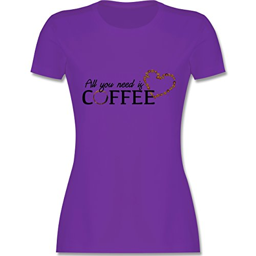 Statement Shirts - All You Need is Coffee - S - Lila - L191 - Damen T-Shirt Rundhals