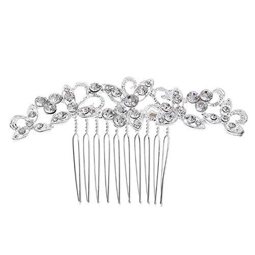 Symboat Haarkamm für Hochzeiten, glänzend, Ornamente, Blumenform, handgefertigt, weich, silberfarben, 2