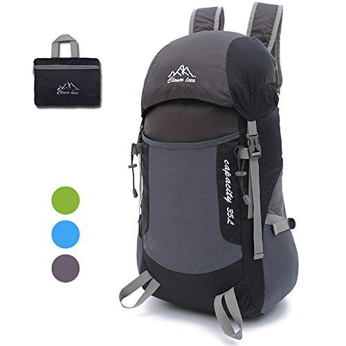Faltbar Wanderrucksack 35L ultra leichtes, Gindoly-Multifunktionspackable wasserdichter beiläufiger kampierender Daypack für im Freiensport-kletternder Bergsteiger (Schwarz 2)