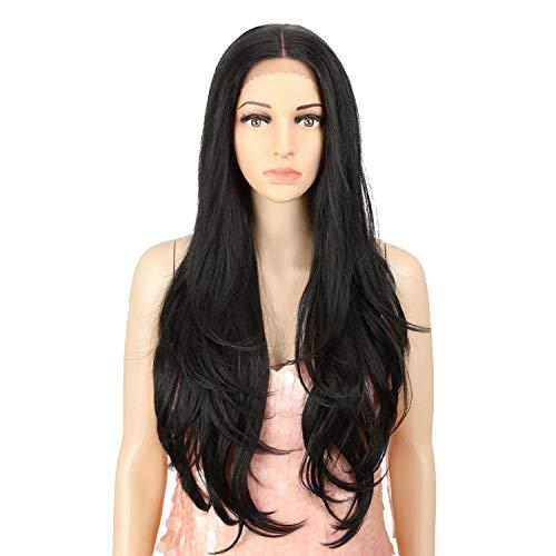 Damenperücke, Kunsthaar, hohe Temperaturtemperatur, lang, natürlicher Haaransatz