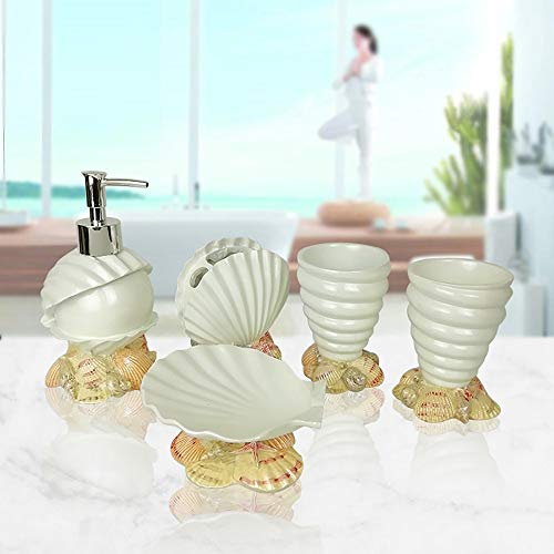 LOHOX 5 Piezas Juego de Accesorios para Baño Conchas de mar Diseño Baño Vanidades Decoración - Porta Cepillos de Dientes, Jabonera, Dispensador de Jabón, Vaso para Enjuague Bucal