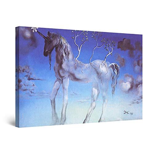 Startonight Cuadro Moderno en Lienzo Salvador Dali Unicornio, Pintura Abstracta para Salon Decoración 60 x 90 cm