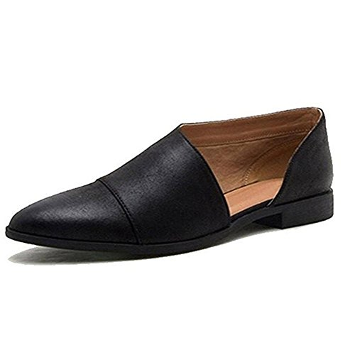 Hot Sale!Sandalen Damen, Sonnena Frauen Frühling Fashion Casual spitz flache Schuhe nackt Schuhe PU/Solid/Square Heel/Knöchel/Spitze Zehe/Gummi/Mode (Sexy Schwarz, 39) (Flache Spitzen Zehe Schuhe)