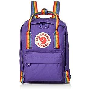 FJALLRAVEN Kånken Mini Mochila, Unisex Adulto, Multicolor (Purple/Rainbow Pattern), Talla Única