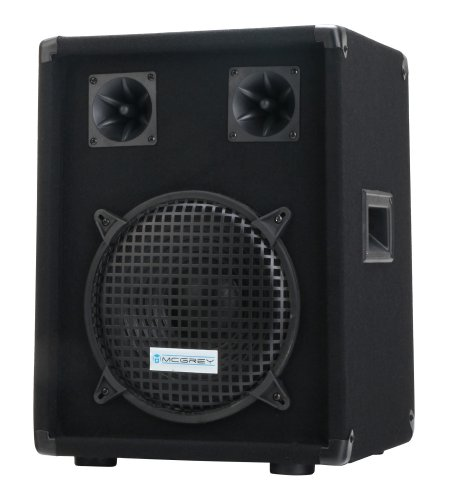 "McGrey DJ-1022 DJ PA Lautsprecher Box 25cm (10"") Subwoofer 400W (Passiv, 2-Wege System, Holzgehäuse)"