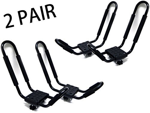 9sparts 2 Pairs J Bar Kayak Canoe Inflatable Boat Wakeboard Waveboard Paddleboard Snowboard Ski Roof Rack Carrier Car SUV Truck Jeep Roof Top Mount With Straps by 9sparts