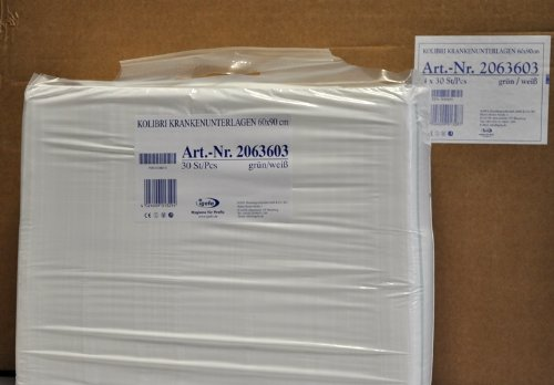 4x30 Stück Krankenunterlagen mit hautfreundlicher Vliesabdeckung, Kolibri KU, 60x90 cm, Farbe grün/weiß gestreift