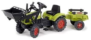 tractores: Falk 2040CM Claas Arion 410 - Tractor de pala a pedales con remolque, color verd...