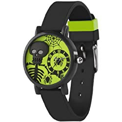 Tikkers Children's Quartz Watch with Multicolour Dial Analogue Display and Black Silicone Strap TK0069