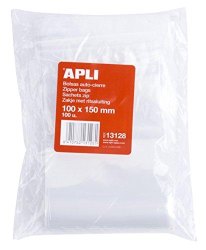 APLI 13128 - Pack de 100 bolsas de plástico con autocierre, 100...