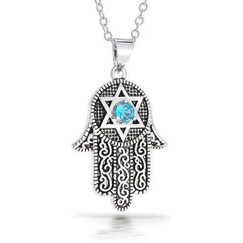 Bling Jewelry CZ stella della Collana David Hamsa 16in