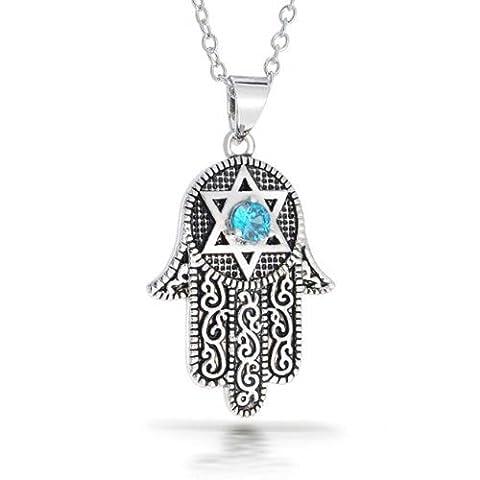 Bling Jewelry Hamsa CZ Pendentif Etoile de David Collier plaqué rhodium 16 pouces