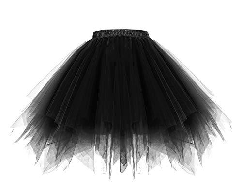 HomRain 1950 Petticoat Tutu Unterrock Underskirt für Rockabilly Kleid Black M