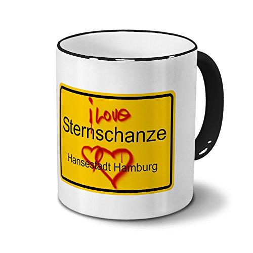 Städtetasse Sternschanze - Hansestadt Hamburg - Design Ortsschild Graffiti - Stadt-Tasse, City-Mug, Becher Schwarz