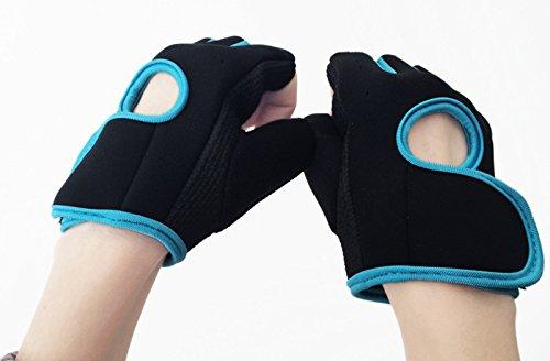 lumanuby 1Paar Damen Herren 's Gym Handschuhe, Half Finger Handschuhe semi-breathable Verschleißfest Rutschfest Fitness Handschuhe für Outdoor Ausreit Klettern atmungsaktives Sport Handschuhe Workout Training, Blue M, 18-21CM - 9
