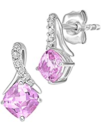 Revoni 9ct White Gold 0.88ct Created Pink Sapphire and 0.05ct Diamond Earrings