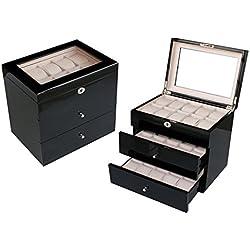 2. WAHL Uhrenbox Woolux Uhrenschatulle Uhrenvitrine aus Holz für 30 Uhren schwarz Echtglas