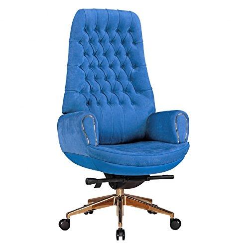 Home Collection24 Bürostuhl Chairman Blue Echtleder Blau Schreibtischstuhl 150kg Synchronmechanik Chefsessel Kopfstütze Drehstuh