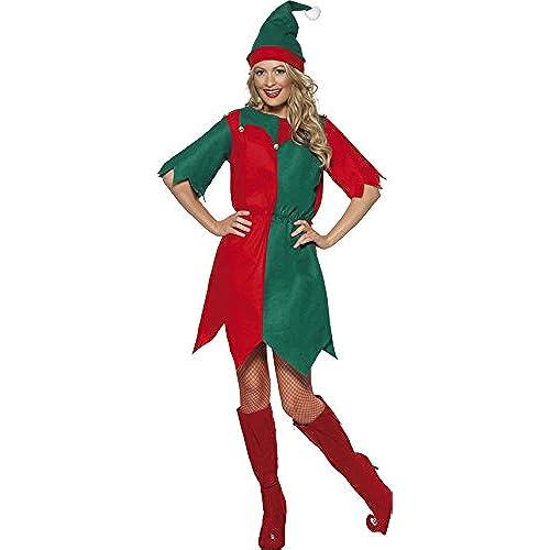Smiffyu0027s Adult Womenu0027s Elf Costume Hat and Tunic Elf Christmas Size S 21474  sc 1 st  Amazon UK & Fancy Dress Christmas Costumes: Amazon.co.uk