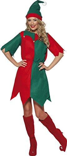 Weihnachtsmann Kinder Großbritannien Kostüm (Smiffys, Damen Elfen Kostüm, Tunika und Mütze, Größe: L,)
