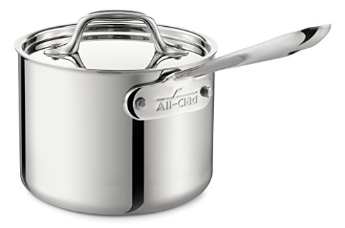 All-Clad 4202 Stainless Steel Tri-Ply Bonded Dishwasher Safe Sauce Pan with Lid/Cookware, 2-Quart, Silver