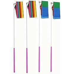 MUROAD 4 Piezas 4 M de Largo Gimnasias Rítmicas Intenso Cinta con una da vueltas Dance Porra Vara para Niños Bailarinas de Danza Colores Surtidos (Arco iris y llama)
