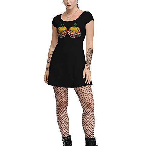 Vestido de Manga Corta con Estampado Estilo rockero para Mujer Cosplay Halloween con Cuello en v