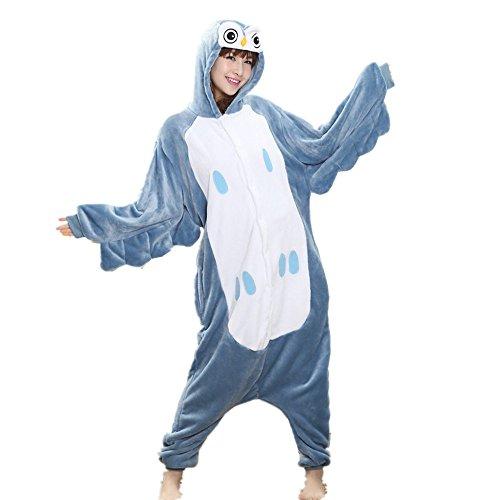 Kenmont Tier Schlafanzug Cosplay Kostüm Einhorn Pyjama Tierkostüme Jumpsuits Erwachsene Nachthemden Overall Plüschtier (L, Owl)