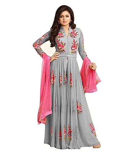 Salwar Style Women's Georgette Embroidered Anarkali Gown (Grey Color_Free Size)