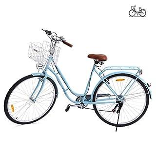 Paneltech 28'' Zoll Stadtrad Damen Männlich Holland Fahrrad Citybike Rücktrittbremse Rad 6 Geschwindigkeiten Zahnräder (Blau)