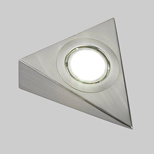 Lumière encastrée à DEL en acier inoxydable avec une finition en chrome brossé pour meuble et placard, par LED Me, Métal, Triangle Light 3.5W in Warm White 3200K, EFP 3.50 wattsW 240.00 voltsV