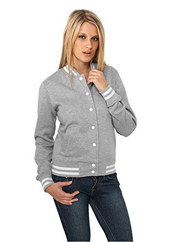 Urban Classics College Sweatjacke Damen grau grey, XL (Grau Shirt College)