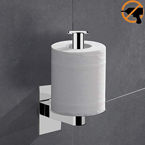 Lolypot Portarrollos de papel higiénico sin perforar, 304 Acero Inoxidable 3M Autoadhesivo Accesorios de baño Vertical Horizon Acabado en Cromo Toilet Roll Holder