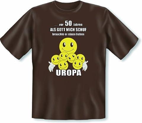 Geschenk zum 50. Geburtstag T Shirt Vor 50 Jahren als Gott mich schuf brauchte er einen lieben Uropa Größe 3XL Farbe braun