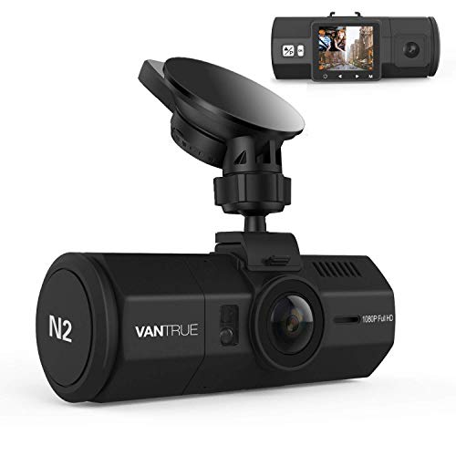 "Vantrue N2 Dual Lens Dash Cam FHD 1080P Front and Rear Dashcams for Cars 1.5"" Near 360° Taxi Uber Dual Car Camera w/Parking Mode, Front Camera Night Vision Effects, Motion Detection, Loop Recording"