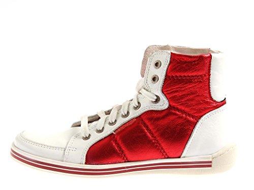 Innocent hohe Sneaker Knöchelschuhe aus Leder Hi Top Sneaker zweifarbig 713A White-Red