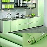 5.5M x 0,61m PVC retorno Pegatina Adhesivo (cocina Papel pintado Rolls pegatinas para armario muebles armario puerta protectora verde + raspador