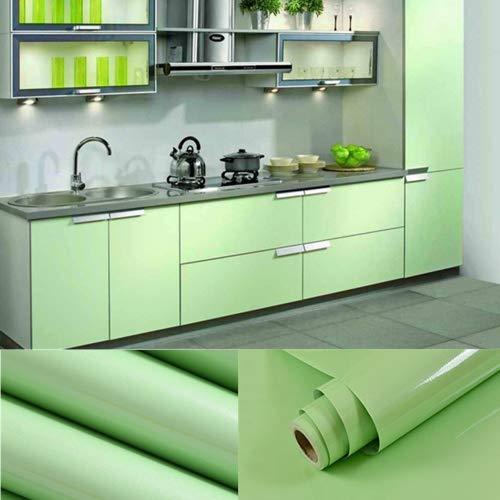 2 Stück 0,61x5,5M PVC Selbstklebend Möbel Klebefolie küchenschrank Aufkleber schrankfolie schlafzimmer wand tapeten roller küche folieren Grün Insgesamt 11 Meter mit Kostenloses Zubehör Schaber