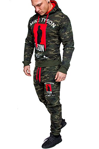 Amaci&Sons Herren Kontrast Sportanzug Jogginganzug Trainingsanzug Sporthose+Hoodie Camouflage Neu 1010