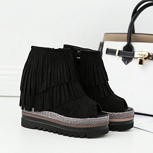 GTVERNH-8.5cm scarpe nere frange di bocca di pesce scarpe scarpe da donna in primavera e in autunno laumento di spessore di basso pendio con le scarpe scarpe a spugna,35 Thirty-eight