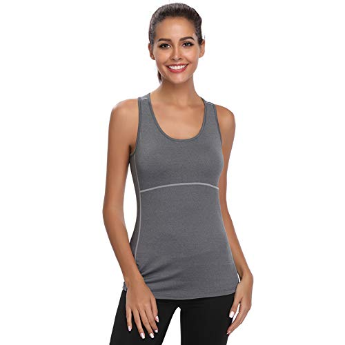 Joyshaper Sport Top Damen Sportoberteile Quick Dry Tank Top Dehnbare Sportshirt Training Shirt für Yoga Fitness Joggen oder als Alltägliche Sommer Kleidung