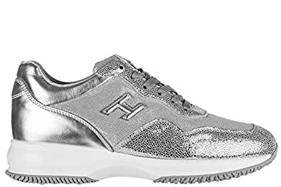 Hogan Scarpe Sneakers Donna in Pelle Nuove Interactive h3d Argento EU 40 HXW00N0W661FPUB200
