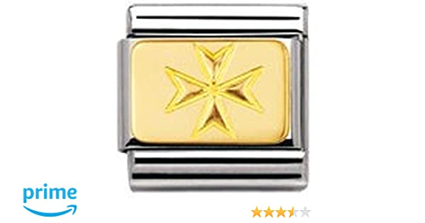 Nomination Composable Classic Engraved Signs Maltese Cross Stainless Steel and 18K Gold j0x6OCW