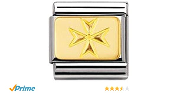 Nomination Composable Classic Engraved Signs Maltese Cross Stainless Steel and 18K Gold